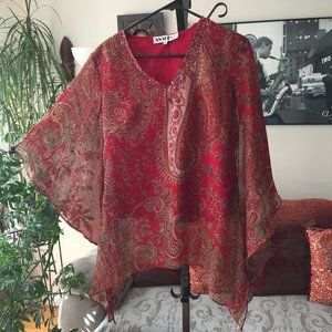 ANAGE TOO Paisley Chiffon Sequin Embellished Tunic